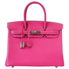Hermes Birkin 30 Bag Limited Edition Rose Tyrien Candy Epsom Palladium