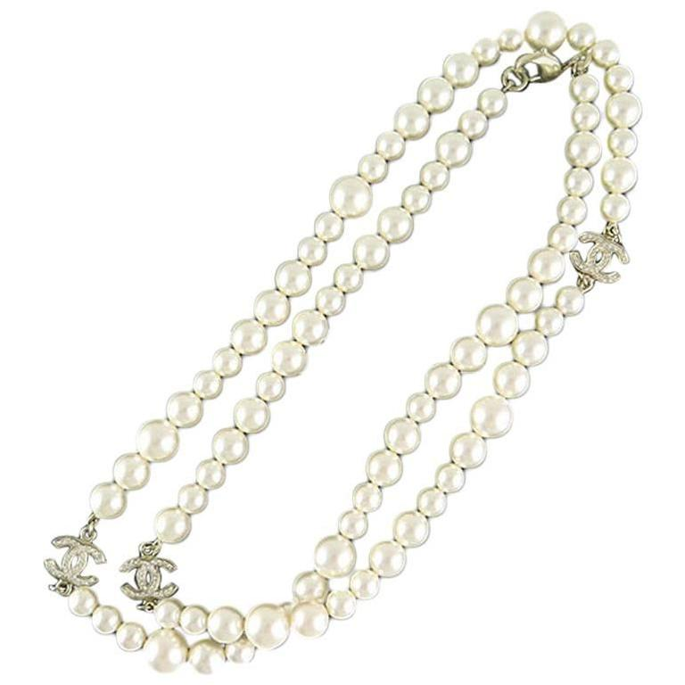 Chanel Swarovski CC White Pearl Long Classic Necklace 1