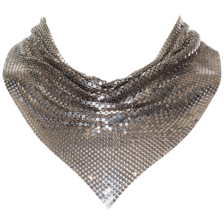 Silver Gianni Versace Metal Mesh Medusa Necklace