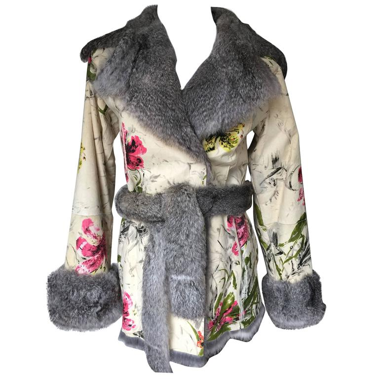 Dolce&Gabbana Fur and Floral Leather Painted Jacket S. For Sale