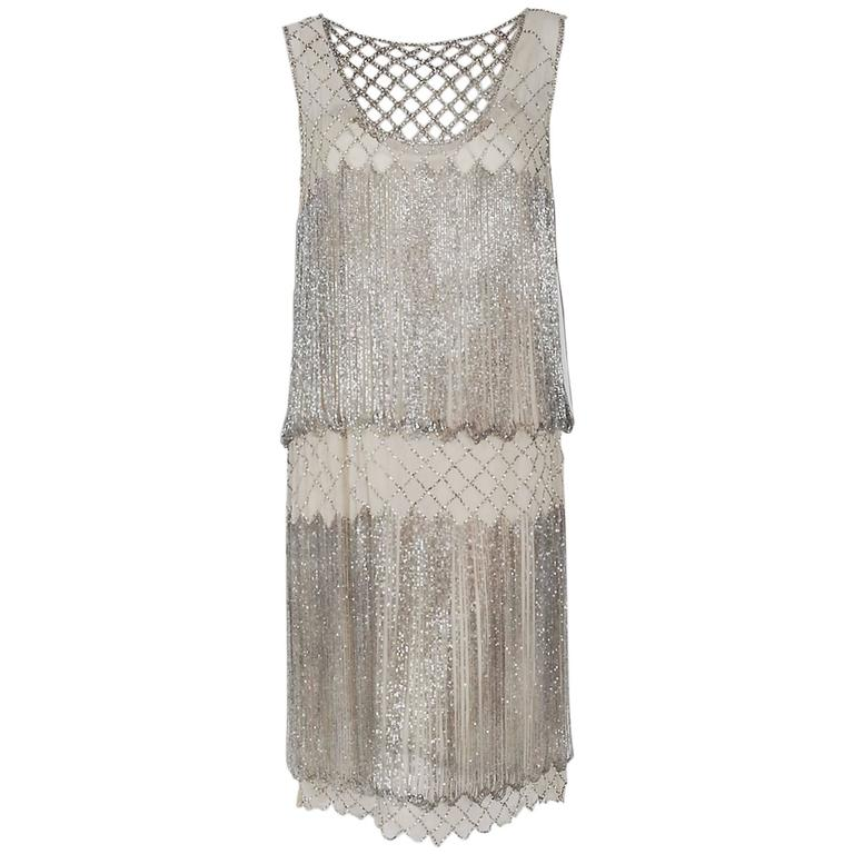 1920's French Couture Beaded Fringe Ivory Silk Chiffon Cut-Out Flapper Dress  For Sale