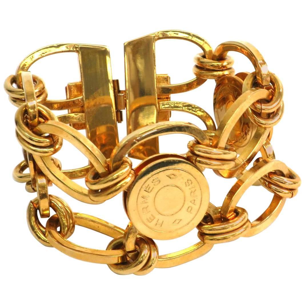 Hermes Gold Sellier 'hermes Paris' Medallion Coin Chain Link Cuff Charm  Bracelet For Sale At 1stdibs