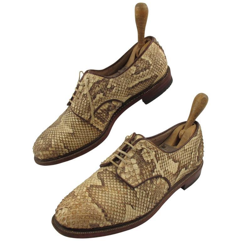Pre War Original Python Lace Up Oxfords Men Shoes Size 42 / 9 US 1