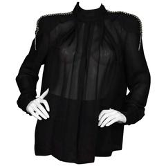 Pierre Balmain Black Blouse with Beading Sz 42 NWT