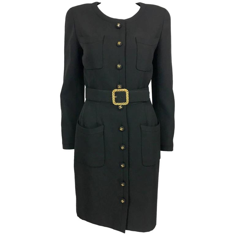 Chanel Belted Black Wool Dress With Logo Buttons - Circa 1992 1