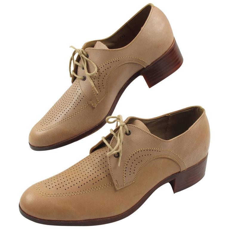 Vintage 1950s Nude Leather Derbys Men Shoes Size 41 / 8.5 US For Sale