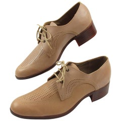 1950s Nude Leather Derbys Men Shoes Size 41 or 8.5 US