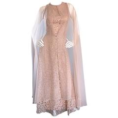 Pat Sandler Vintage 1960s Nude Silk Chiffon Sequined 60s Gown w/ Attached Cape