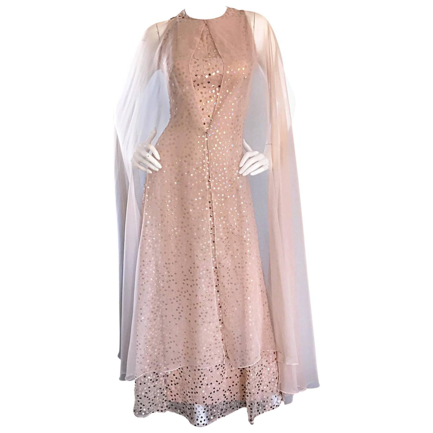 Pat Sandler Vintage 1960s Nude Silk Chiffon Sequined 60s Gown w ...