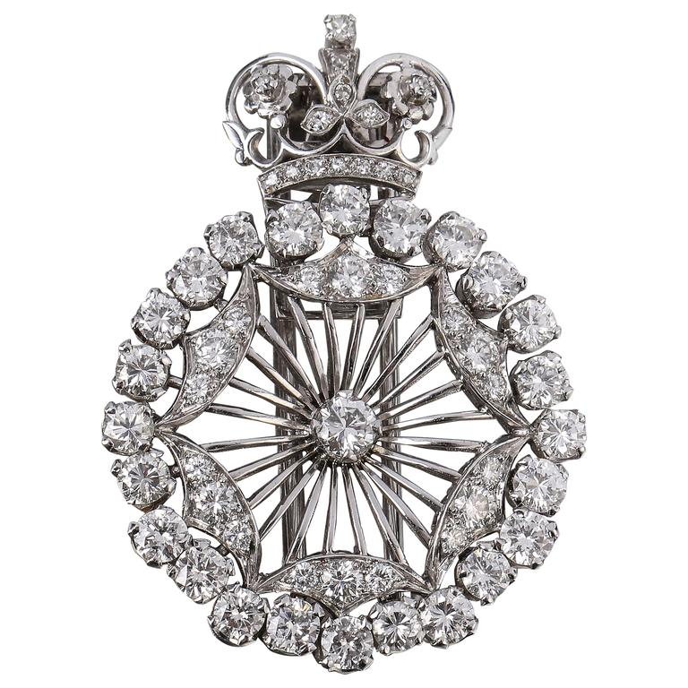 BOUCHERON 1940's Paris Diamond Platinum Circle Crown Brooch Fur Clip Pin 1