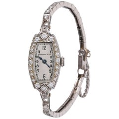 TIFFANY & CO 1930's Diamond Platinum Patek Philippe Movement Bracelet Watch