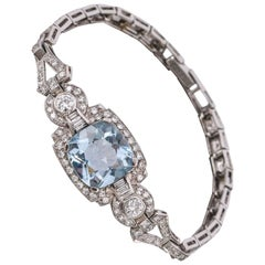 Art Deco Aquamarine Diamond Platinum Filigree Link Bracelet