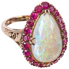 c.1930's Large Teardrop Opal Ruby Rose Gold 14 KT Ring Size 6.75 - 7