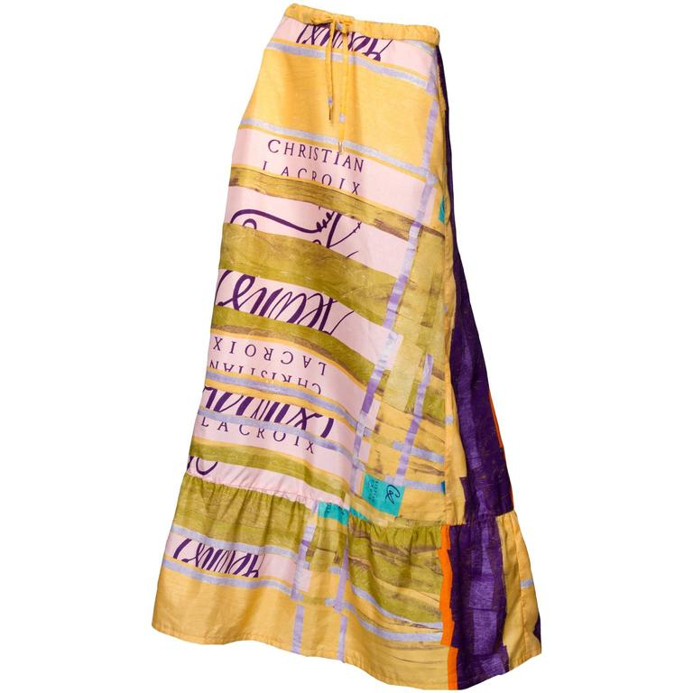A Colorful 1990s Christian Lacroix Silk Peasent Skirt 1