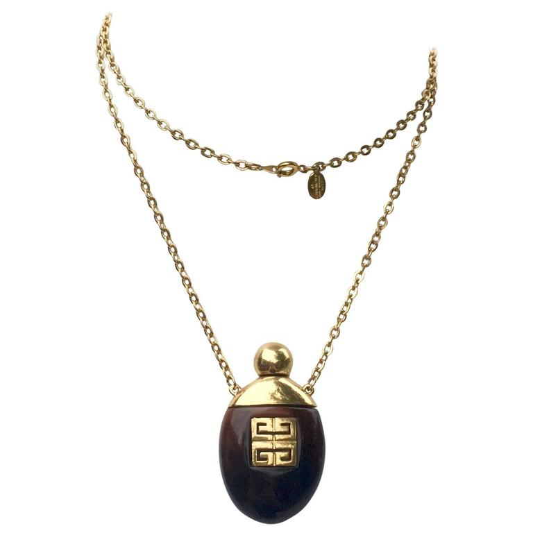 Givenchy Vintage Perfume Bottle Necklace Gold-Toned Link Chain Tortoise, 1970s  1