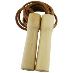 """Hermes Uber Rare Limited Edition """"A Sporting Life"""" Wood and Leather Jumping Rope"""