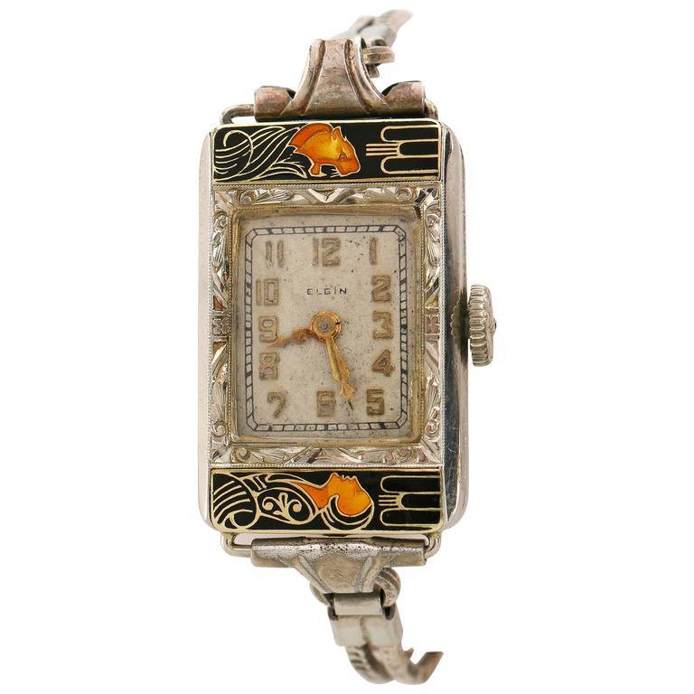 elgin parisienne lady and tiger art deco enamel manual bracelet watch for sale at 1stdibs. Black Bedroom Furniture Sets. Home Design Ideas