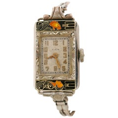 ELGIN c.1925 Parisienne Lady & Tiger Art Deco Enamel Manual Bracelet Watch
