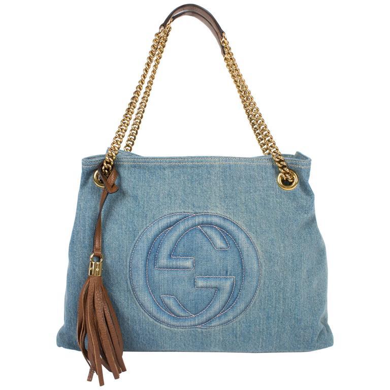 Gucci Blue Denim Medium Soho Tote Bag - blue denim/brown leather For Sale
