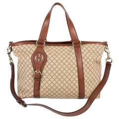 Gucci Diamante Canvas Village Double G Tote - beige canvas/brown leather
