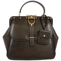 Gucci Lady Stirrup Top Handle Bag Limited Edition - dark green leather