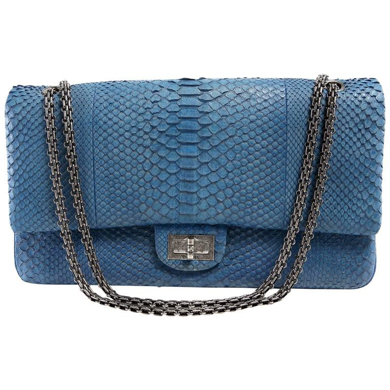 Chanel Blue Slate Python 2 55 Reissue Double Flap Bag For