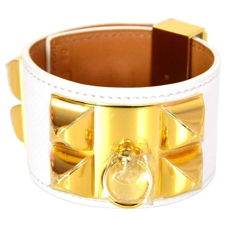 Hermes LIKE NEW White   Gold Collier de Chien CDC Cuff Bracelet Sz S For  Sale d73bc30e035