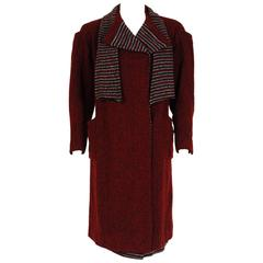 Burgundy-Red Striped Wool Deco Flapper Coat and Matching Skirt Ensemble,  1920s