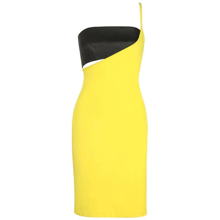 VERSUS GIANNI VERSACE c.1990 Yellow Black One Shoulder Dress Leather Bandeau Set