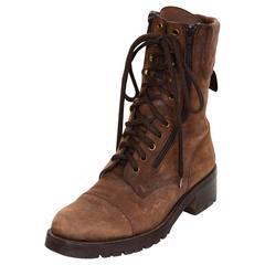 Chanel '90s Vintage Brown Suede Combat Boots Sz 40