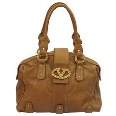Valentino Cognac Pebbled Leather Shoulder Bag - GHW