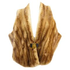 Vintage Golden Mink Designer Vest with Lucite Closure from Neiman-Marcus
