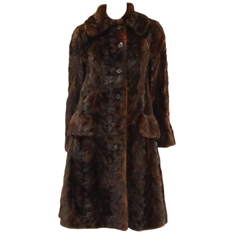 1980's Oscar de la Renta Multi Hued Brown Sable Fur Coat 1