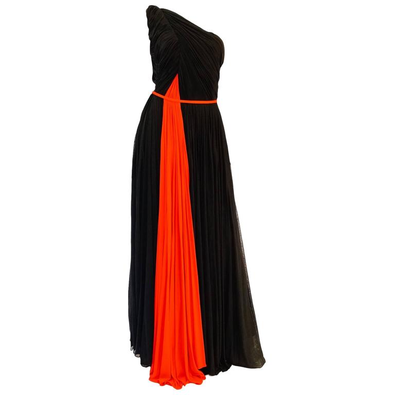 Important 1940s Madame Grès Grecian Goddess Silk Knit Gown in Black and Red