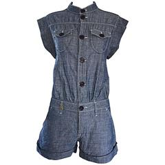 Missoni Denim Blue Jean One Piece Avant Garde Romper Onesie Playsuit Jumpsuit