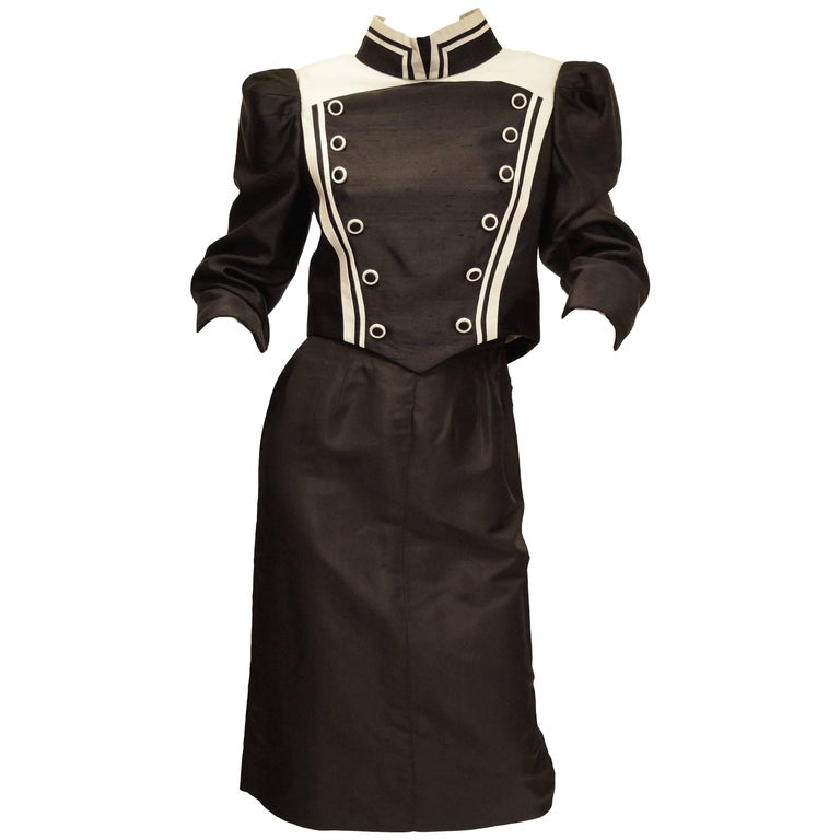 1980s Reza Khan Duponi Silk Black and White Structured Skirt Suit