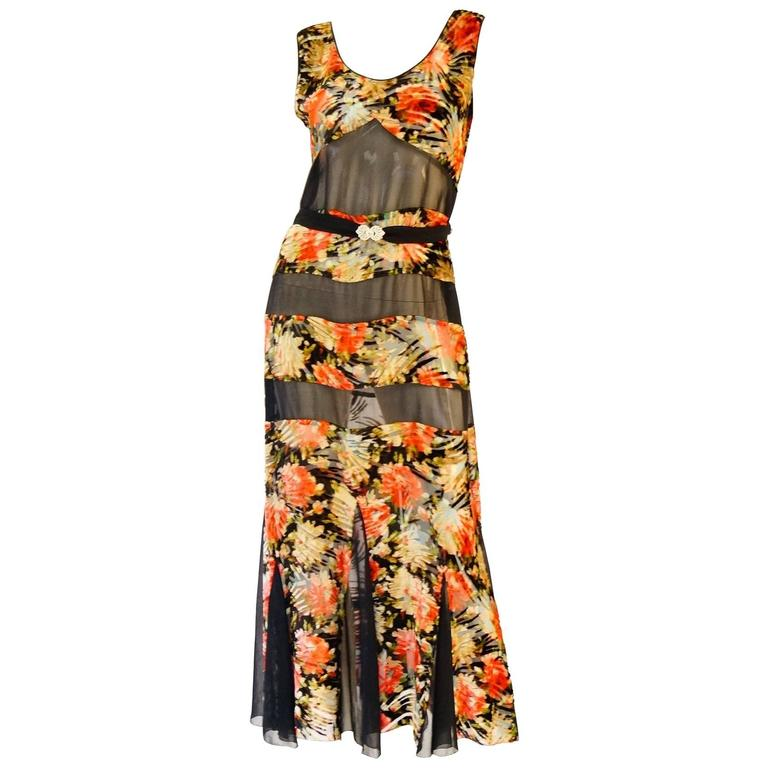 1920's Museum Piece Silk and Sheer Panel Floral Fluted Dress  For Sale