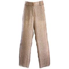 Vintage GIORGIO ARMANI 1990s Beige Gold Silk Chiffon Snakeskin Wide Leg Pants