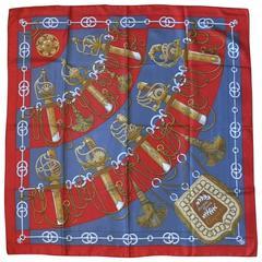 """Hermes Vintage Silk Carre Scarf """"Cliquetis"""" by Julie Abadie"""