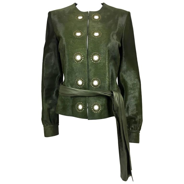 Yves Saint Laurent Moss Green Ponyskin Jacket With Eyelets - 2010s For Sale