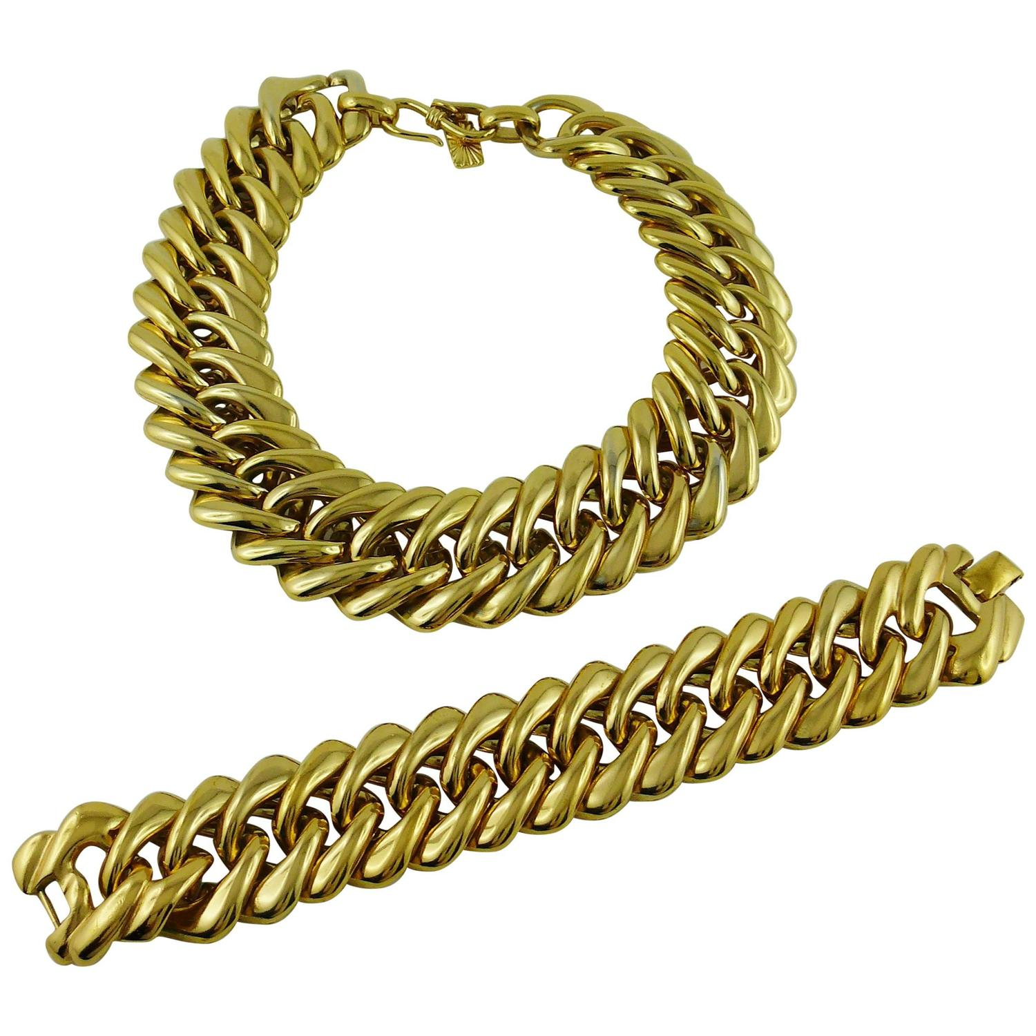 Yves saint laurent ysl vintage classic curb chain necklace bracelet set for sale at 1stdibs - Bracelet yves saint laurent ...