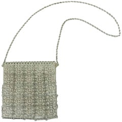 Vintage Art Deco Silver Floral Chain Mail Evening Bag - 1930's