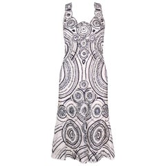CAROLINA HERRERA White Mesh Navy Blue Embellished Paillettes Sleeveless Dress