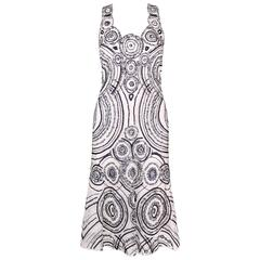 CAROLINA HERRERA White Mesh Navy Blue Embellished Paillettes Sleeveless Dress
