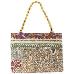 Emilio Pucci Multi Printed Handbag with Gold Braided Handle - 1960's