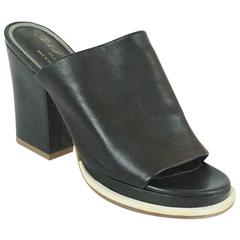 Robert Clergerie Black Leather Clogs with Block Heel - 37