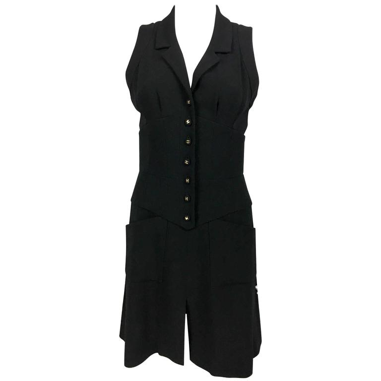 Chanel Black Waistcoat-Style Wool Dress With Logo Buttons - 1990s 1