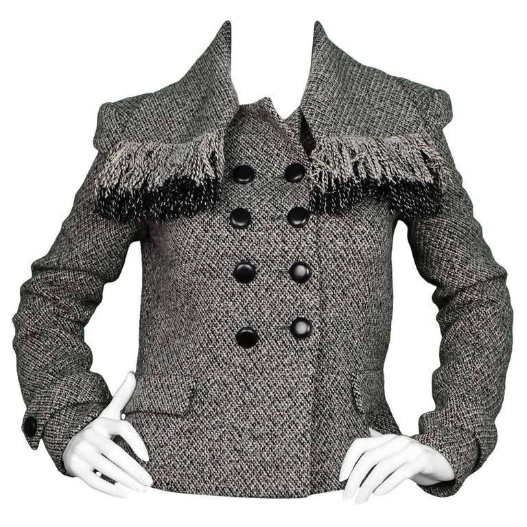 Balenciaga Black and White Tweed Jacket Sz 40 For Sale