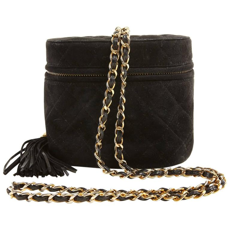Chanel Black Suede Oval Top Zip Bag 1