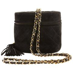 Chanel Black Suede Oval Top Zip Bag